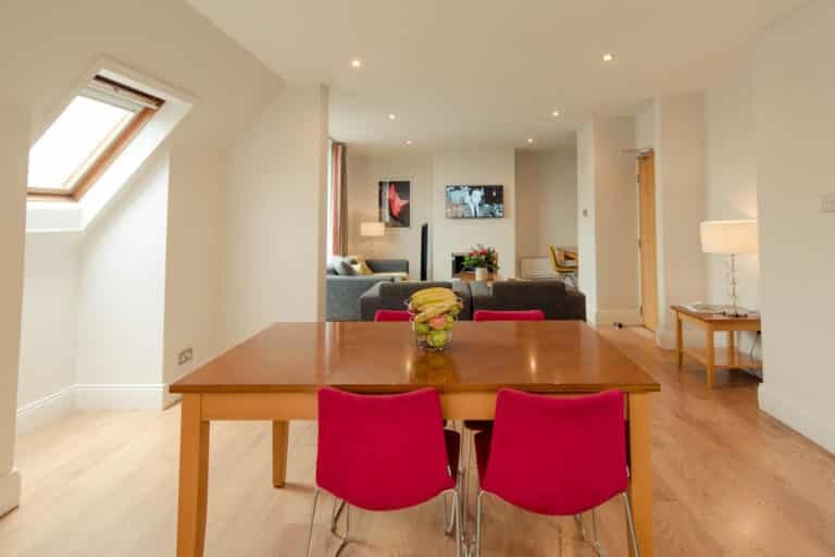 PREMIER SUITES PLUS Dublin Leeson Street table and chairs looking out onto sitting room